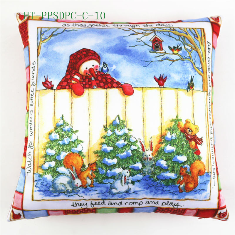 Wholesale Latest Design Christmas Snowman Cartoon Digital Print for Car Chair Custom Decorative Throw Pillow Case Cushion Cover