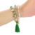 Green Aventurine Bracelet with Tassel Set