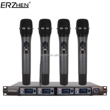 Wireless Microphone System F4000F Professional Microphone 4 Channel UHF Dynamic Professional 4 Handheld Microphone + Karaoke
