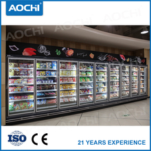 Factory price commercial hypermarket upright close multideck showcase freezer for Ice cream display