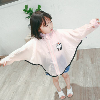 2019 summer children wear panda pattern girl hooded sunscreen clothing breathable girl coat