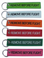 twill fabric+embroidered Material and Embroidery key chain Type REMOVE BEFORE FLIGHT Style Fabric Keychain