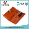 Women's genuine leather purse long bifold clutch organizer RFID wallets