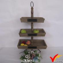 antique 3 tiered wooden fruit tray stand