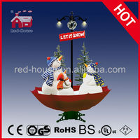 Sparking Smart light with artistic snowman, Snowing Christmas Snowman Family with umbrella base with LED lights and tree