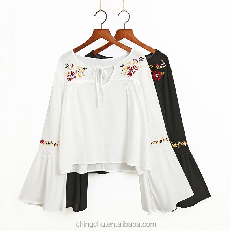2017 new style Women's Bell Sleeve Embroidery V Neck Ruffle Tops Blouse