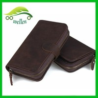 2015 European retro zipper snap long horse leather wallet for unisex,imperial leather wallet
