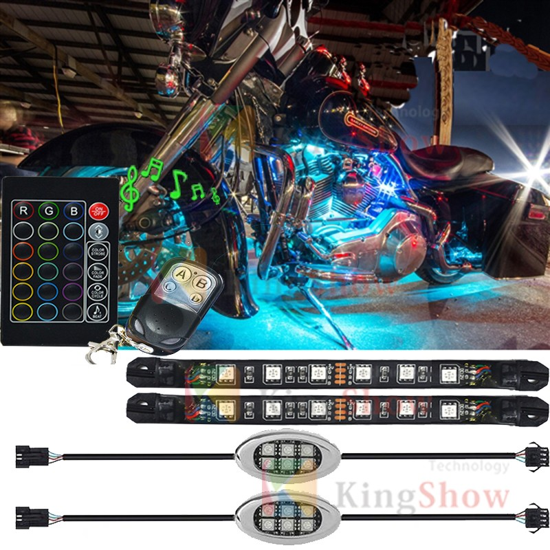 Advanced Multi Color super bright LED Motorcycle Accent Glow Engine light Durable PVC Flexible Strips light kit with led pod