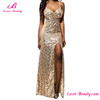 2017 Gloden Sequins High Split Long Gowns Evening Dress