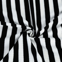 Hot Sell Black And White Polyester Yarn Dyed Stripe 4*3 Rib Weft Knitted Fabric