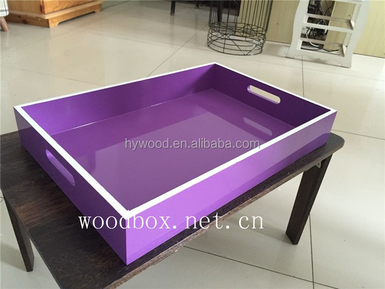 hign glossy lacquered spray paingting color finished wooden serving tray for dry fruit pizza beer bread