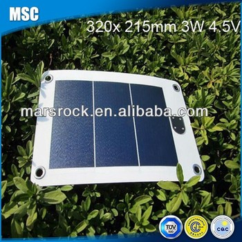 3W 4.5V 320*215mm Flexible PV Solar Panel with USB Outlet & Interface and 4 Holes for Fixing