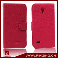 Litchi Grain Leather wallet flip case for huawei ascend g700 cover