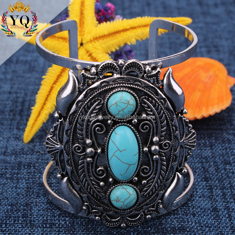 BYQ-00117stone bracelet antique silver metal turquoise hollow retro adjustable jamaican bangle for women