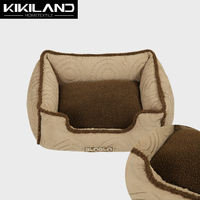 Square Beige color with Brown Plush piping around for Dog Bed