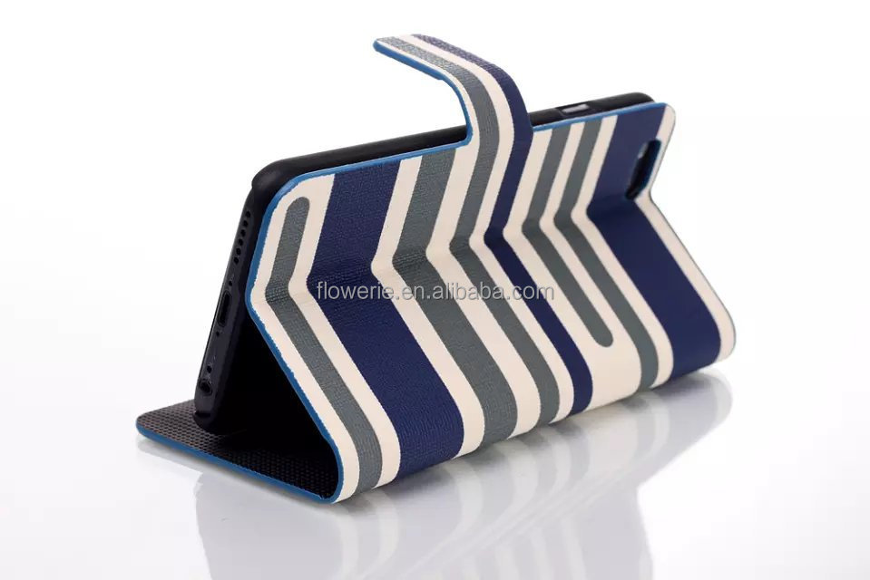 FL2518 Stripes Leather for IPhone 6 Flip Case Stand Wallet