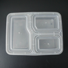 Microwavable Disposable Plastic 3 Compartments Take Out Lunch Food Box Container With Divider