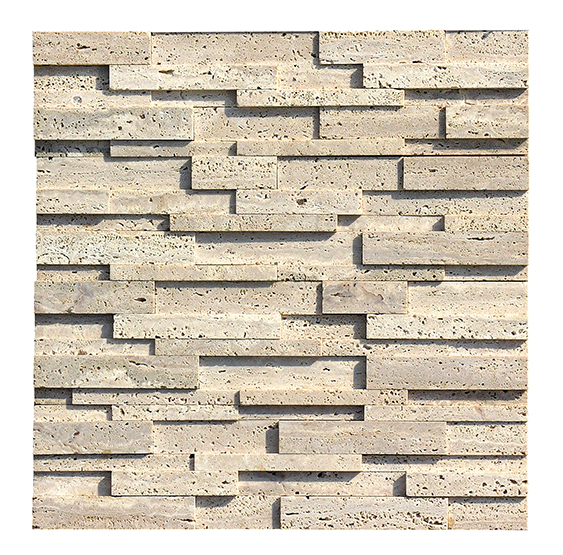 Beige travertine interior wall panel 3d tile decor stacked stone