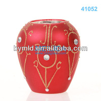Red hand blown glass votive candle holders
