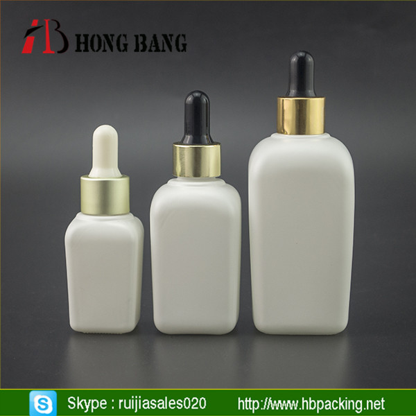 15ml 30ml 50ml e liquid matt white square e liquid glass dropper bottles with aluminum cap