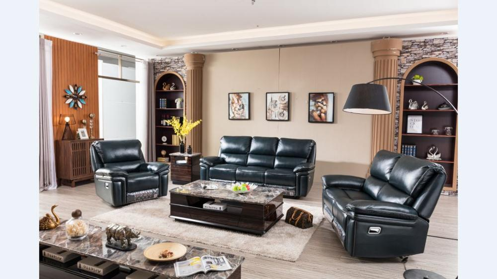 Rock and Glider recliner genuine leather sofa