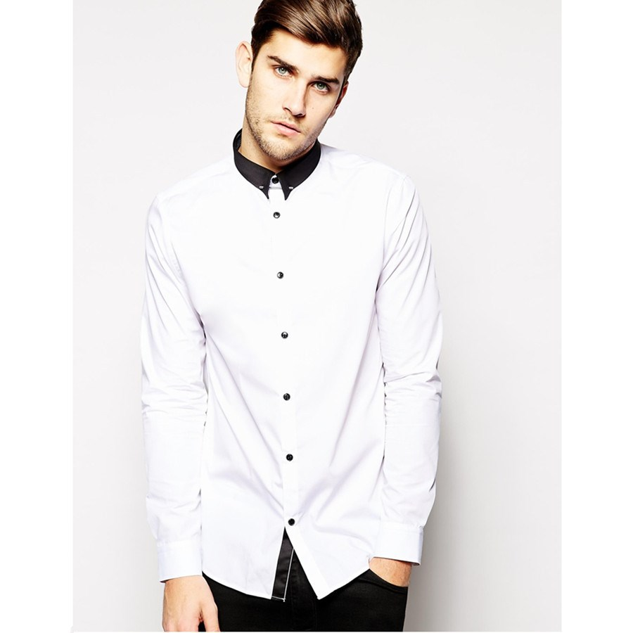 White shirt black collar custom shirt Buy white dress shirt