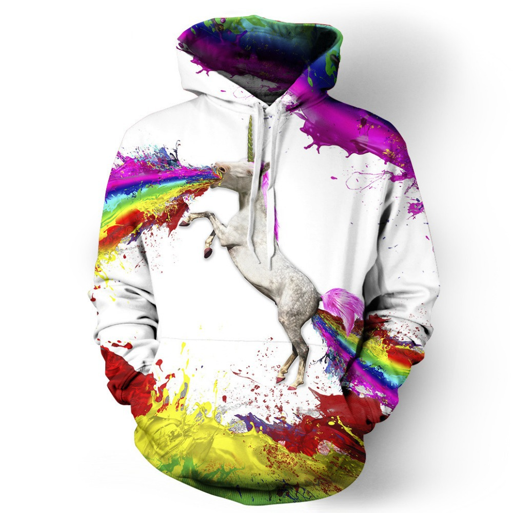 2015 New Fashion Oversized Hoodies For Women 3D Printed Graffiti Horse Colorful Sky Swearshirt Harajuku Chandal Mujer SM6ST053