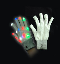 Magic white LED Flashing Finger Tip Gloves Rave Glow Flashing Lights Light Up Club Dance PARTY FAVOR