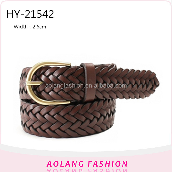 Fashion woven pu leather braided belt for men jeans custom high-grade
