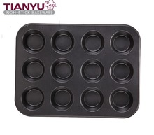 Carbon Steel 12 Cup Cake Pans with Non Stick Coating