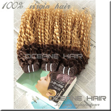 Top grade high quality double drawn hair weaving ombre bundles 100% remy human hair extension