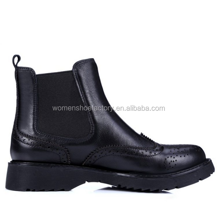 Wholesale Classy and Durable Flat Heel Leather Shoes Roman Boots for Women