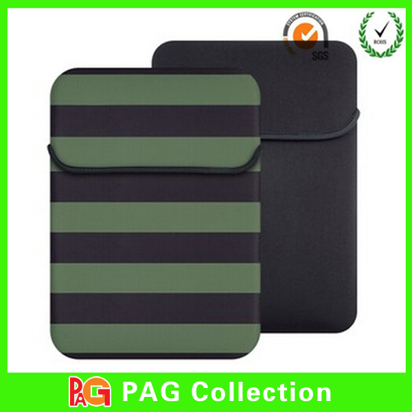 China Dong Guan Factory Black and Green Strip Design Neoprene Tablet Sleeve for 7 inch