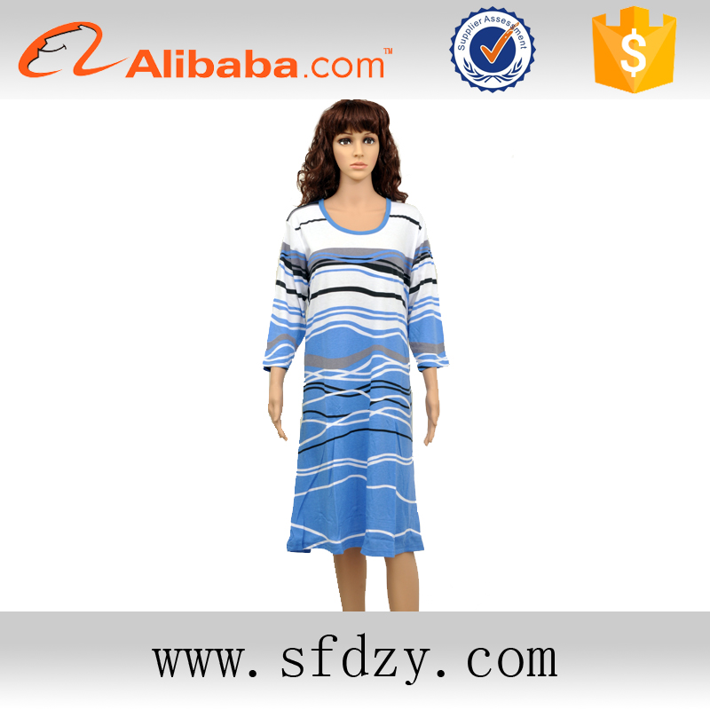 Promotion Summer Polyester / Cotton Material women's long sleeve nightgown