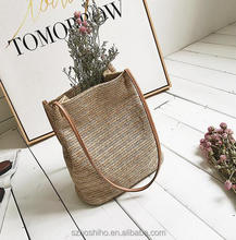 Boshiho Straw Beach Bag with magnetic button drawsting shoulder bag Ecofriendly and natural material used for vocation shopping