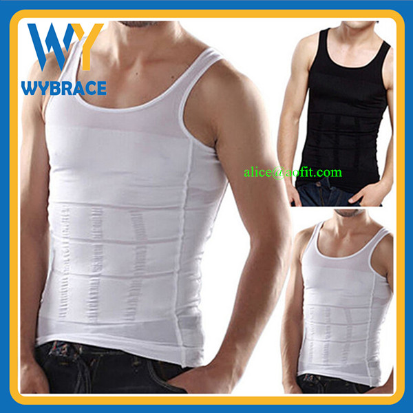 Men tight Slimming Vest Shirt GYM wear Corset Body Shaper Factory Price NO MOQ