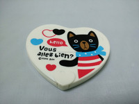 Love Shape Cartoon Cat Printed Pocket Mirror With Comb
