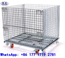 Chinese Manufactory metal wire mesh container, portable storage cage with wheels