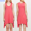 wholesale factory price irregular hem summer tunic dress designer cotton sleeveless one piece party casual dresses for teenagers