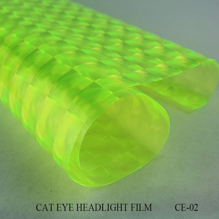 high transmitance fluorescent yellow pvc fashionable cat-eye headlight tint film for car lamb sticker