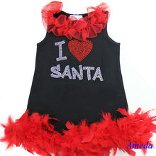 Xmas Silver Red I Love Santa Rhinestone A-Line Feather Party Dress One-Piece 1-7