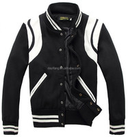 letterman jacket wholesale men basketball jacket with white stripe and snap button jacket