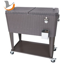 Rolling Patio Cooler Cart Ice Cream Cart With Wheels