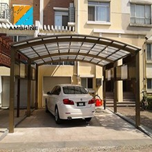 Aluminum Car Parking Shed Pergola Double Carport With PC Panels Roof