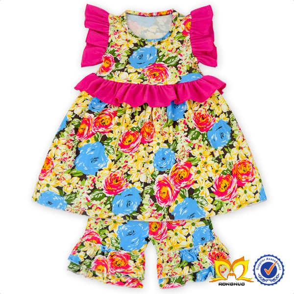 2016 Yellow Flower Milk Fiber Fabric Boutique Outfit Kids Summer Ruffle Clothes Children Long Frocks Designs Clothing