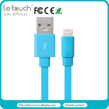 for iphone 6 flat usb cable charging and sync mobile phone colorful 8pin mfi cable