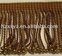 Beaded Bullion Fabric Tasssel Fringe For Curtain