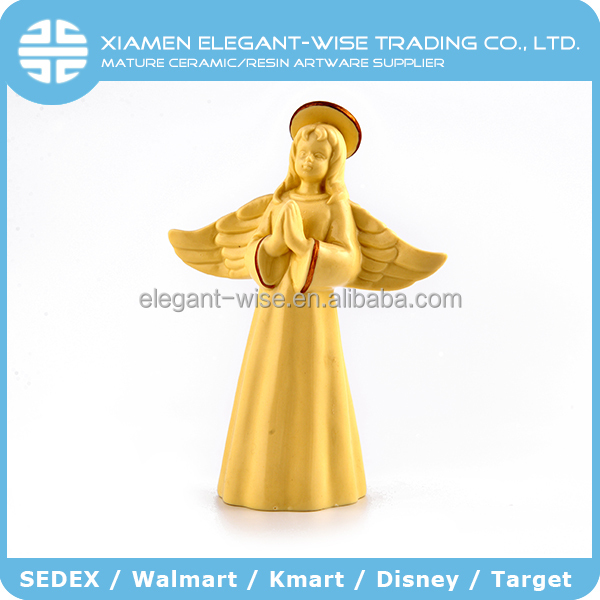 Chinese handmade ceramic 15 x 7 x 20.5 gold decoration angel figurines angel statues
