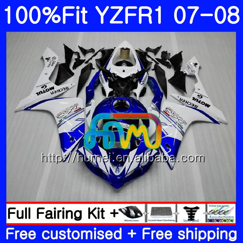 white blue Injection Bodys For YAMAHA YZF 1000 R 1 YZF <strong>R1</strong> <strong>07</strong> <strong>08</strong> 90HM13 YZF1000 YZFR1 <strong>07</strong> <strong>08</strong> YZF-1000 YZF-<strong>R1</strong> 2007 2008 <strong>Fairing</strong>