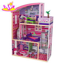 New design 11 pieces of furniture children pretend play wooden luxury toy house W06A226